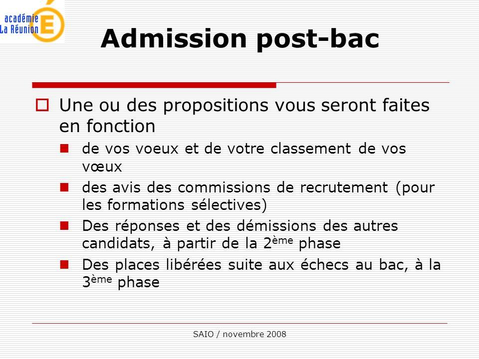 SAIO / novembre 2008 Une ou des propositions vous seront faites en fonction de vos voeux et de votre classement de vos vœux des avis des commissions d
