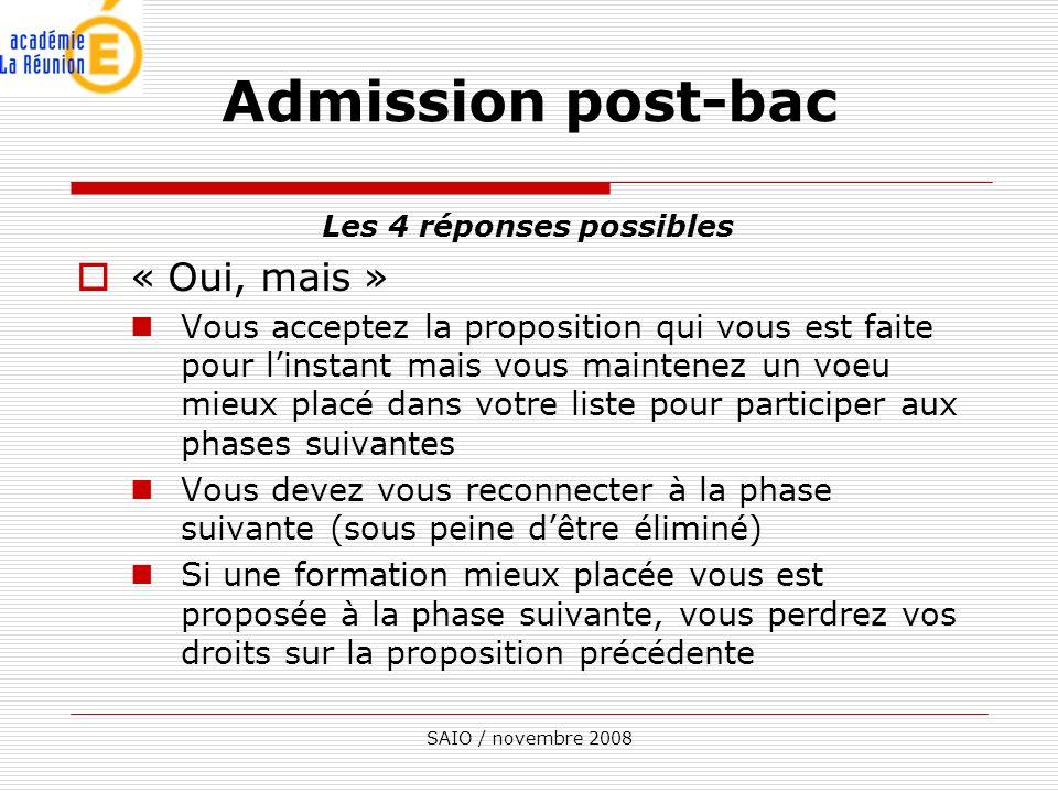 SAIO / novembre 2008 Les 4 réponses possibles « Oui, mais » Vous acceptez la proposition qui vous est faite pour linstant mais vous maintenez un voeu