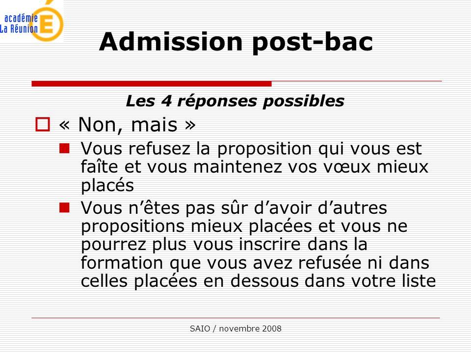 SAIO / novembre 2008 Les 4 réponses possibles « Non, mais » Vous refusez la proposition qui vous est faîte et vous maintenez vos vœux mieux placés Vou
