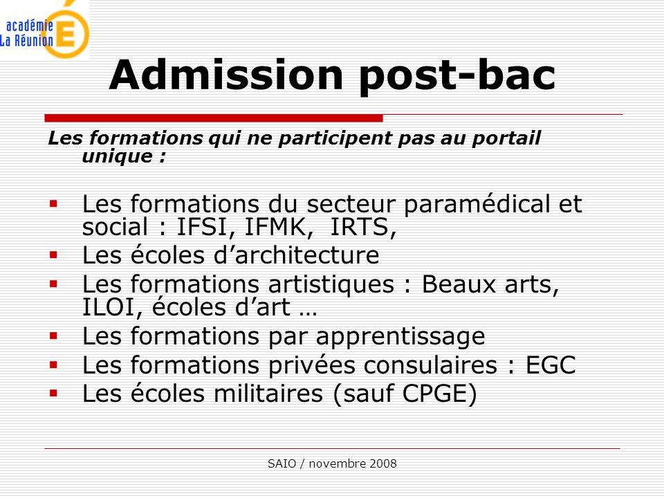 SAIO / novembre 2008 Les formations qui ne participent pas au portail unique : Les formations du secteur paramédical et social : IFSI, IFMK, IRTS, Les