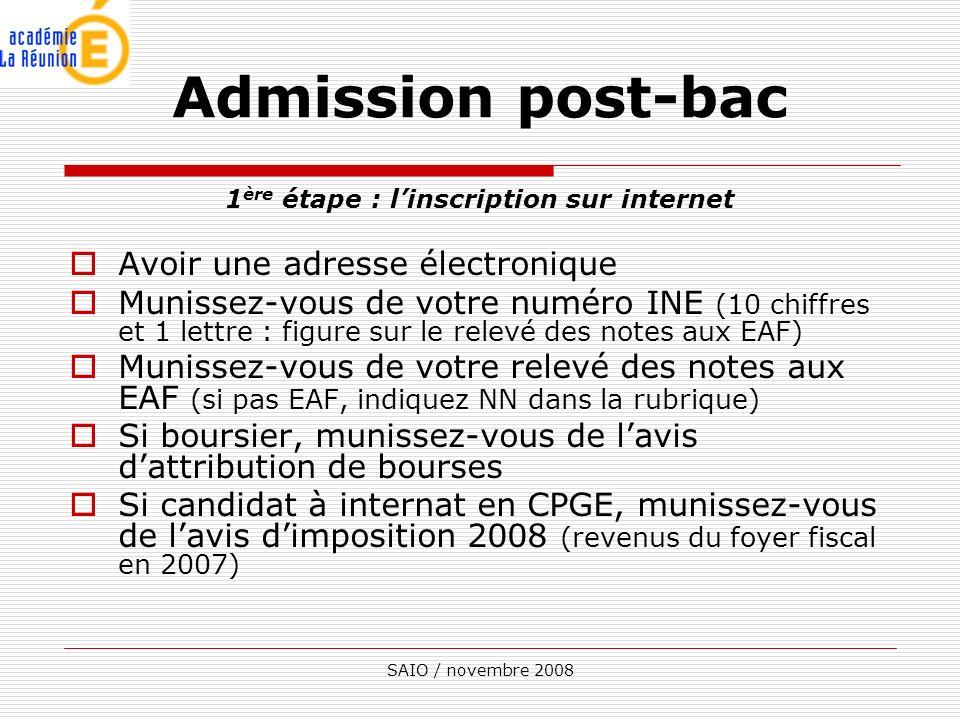 SAIO / novembre 2008 1 ère étape : linscription sur internet Avoir une adresse électronique Munissez-vous de votre numéro INE (10 chiffres et 1 lettre