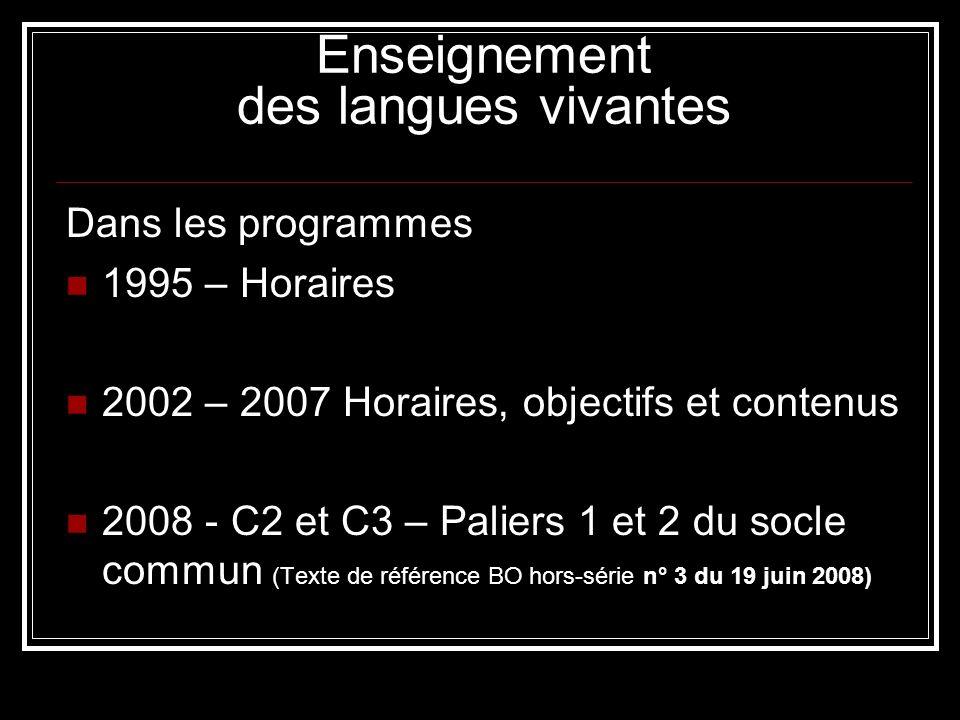 Enseignement des langues vivantes Dans les programmes 1995 – Horaires 2002 – 2007 Horaires, objectifs et contenus 2008 - C2 et C3 – Paliers 1 et 2 du socle commun (Texte de référence BO hors-série n° 3 du 19 juin 2008)