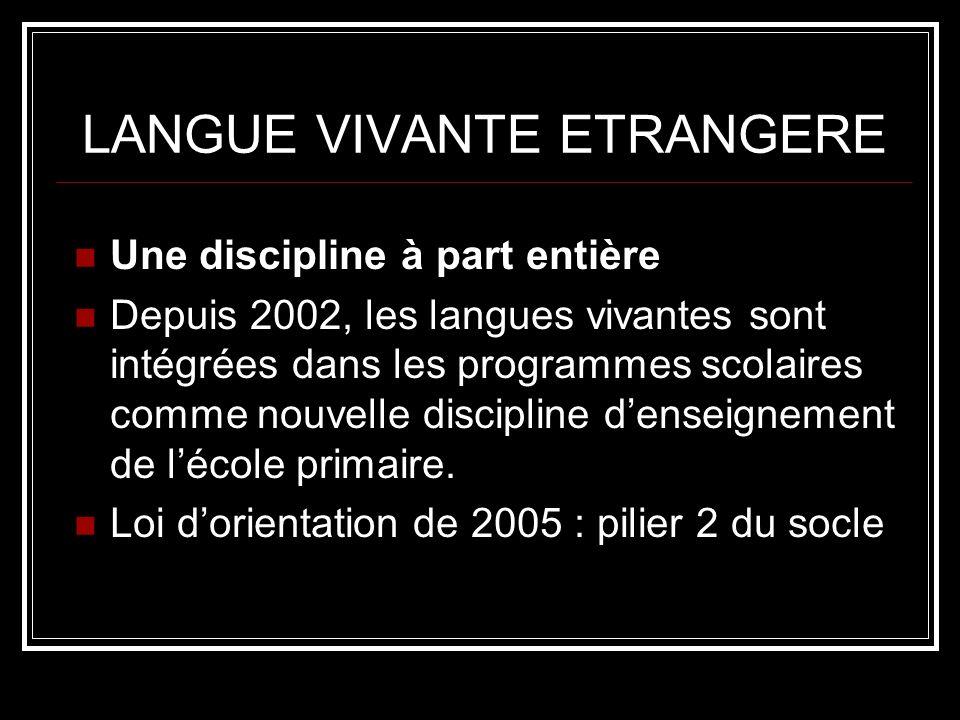 LANGUE VIVANTE ETRANGERE Une discipline à part entière Depuis 2002, les langues vivantes sont intégrées dans les programmes scolaires comme nouvelle discipline denseignement de lécole primaire.