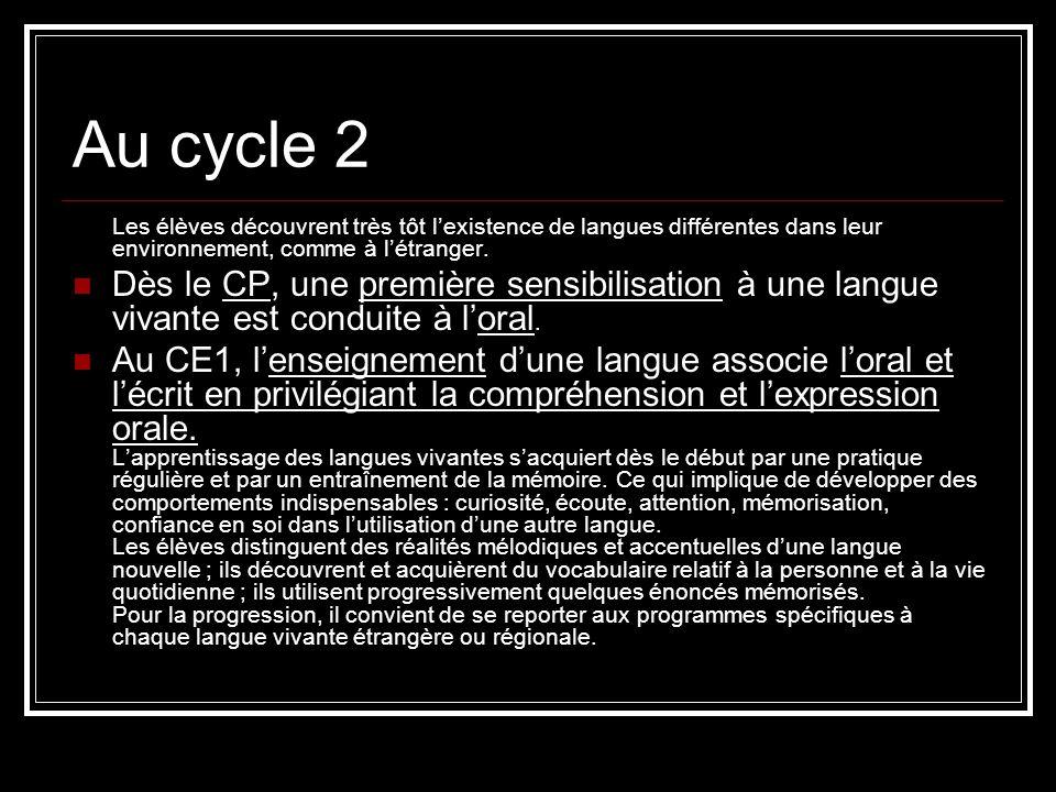 Au cycle 3 En fin de CM2, les élèves doivent avoir acquis les compétences nécessaires à la communication élémentaire définie par le niveau A1 du Cadre européen commun de référence pour les langues qui constitue par ailleurs la référence fondamentale pour lenseignement, les apprentissages et lévaluation des acquis en langues vivantes.