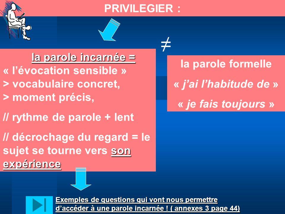 PRIVILEGIER : la parole incarnée = la parole incarnée = « lévocation sensible » > vocabulaire concret, > moment précis, // rythme de parole + lent son