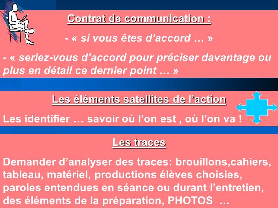 Contrat de communication : - « si vous êtes daccord … » - « seriez-vous daccord pour préciser davantage ou plus en détail ce dernier point … » Les élé