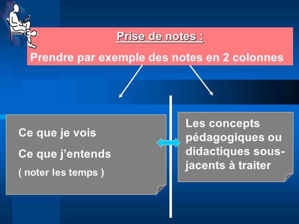 Prise de notes : Prendre par exemple des notes en 2 colonnes Ce que je vois Ce que jentends ( noter les temps ) Les concepts pédagogiques ou didactiqu