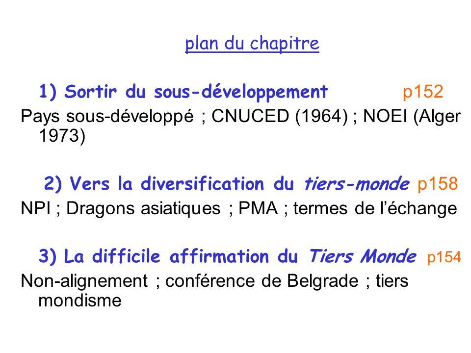 plan du chapitre 1) Sortir du sous-développement p152 Pays sous-développé ; CNUCED (1964) ; NOEI (Alger 1973) 2) Vers la diversification du tiers-mond