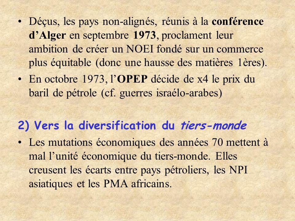 Déçus, les pays non-alignés, réunis à la conférence dAlger en septembre 1973, proclament leur ambition de créer un NOEI fondé sur un commerce plus équ