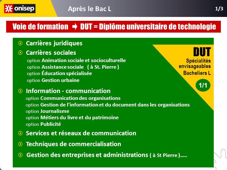 Carrières juridiques Carrières sociales option Animation sociale et socioculturelle option Assistance sociale ( à St. Pierre ) option Éducation spécia