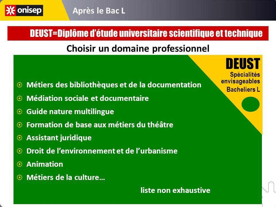 Après le Bac L Choisir un domaine professionnel DEUST Spécialités envisageables Bacheliers L Métiers des bibliothèques et de la documentation Médiatio