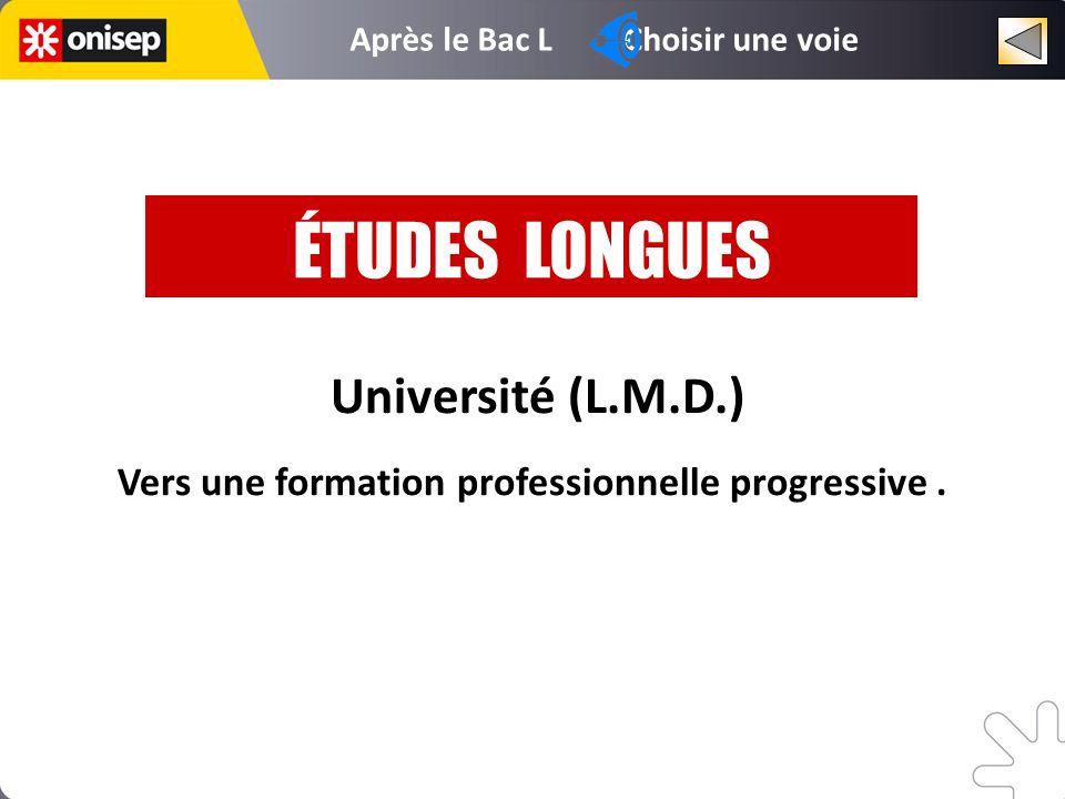 Université (L.M.D.) Vers une formation professionnelle progressive. ÉTUDES LONGUES Après le Bac L Choisir une voie