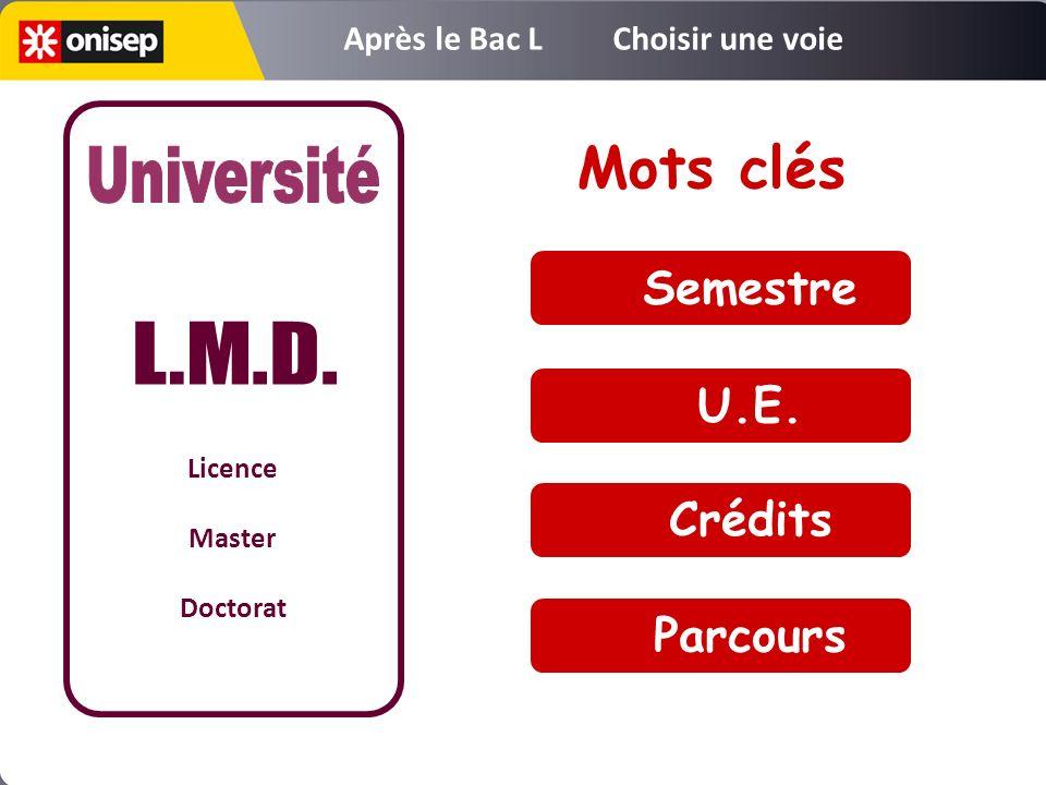 Semestre U.E. Crédits Parcours Mots clés Licence Master Doctorat Après le Bac L Choisir une voie