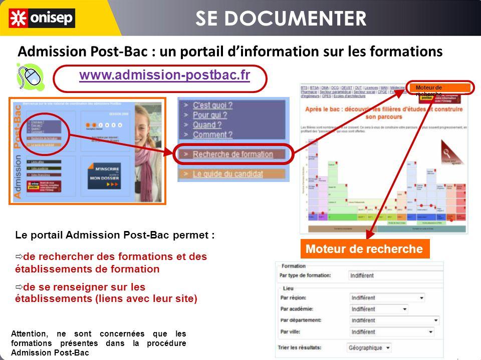 Le portail Admission Post-Bac permet : de rechercher des formations et des établissements de formation de se renseigner sur les établissements (liens