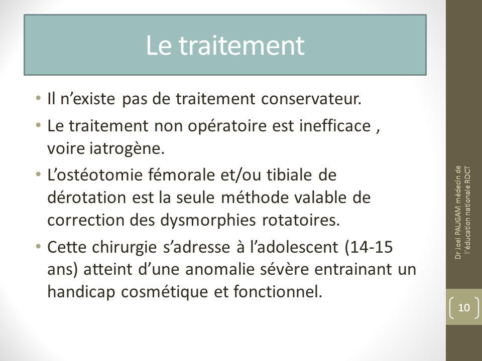 Le traitement Il nexiste pas de traitement conservateur. Le traitement non opératoire est inefficace, voire iatrogène. Lostéotomie fémorale et/ou tibi
