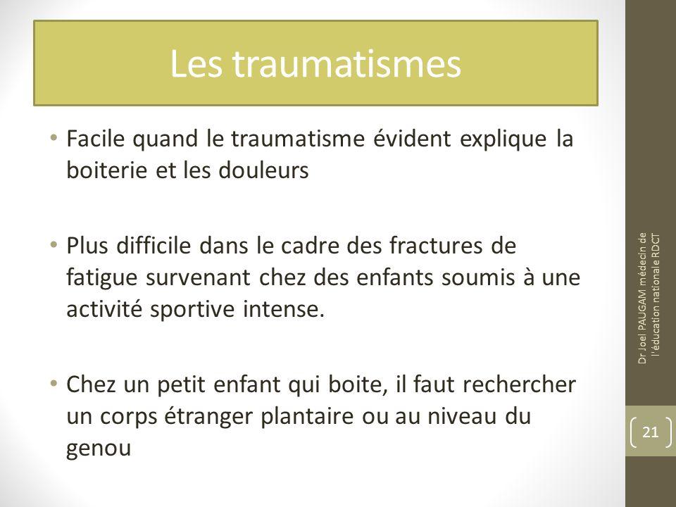 Les traumatismes Facile quand le traumatisme évident explique la boiterie et les douleurs Plus difficile dans le cadre des fractures de fatigue survenant chez des enfants soumis à une activité sportive intense.
