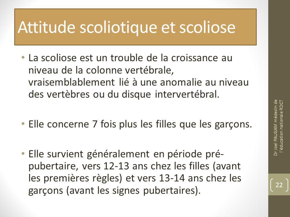 Attitude scoliotique et scoliose La scoliose est un trouble de la croissance au niveau de la colonne vertébrale, vraisemblablement lié à une anomalie au niveau des vertèbres ou du disque intervertébral.
