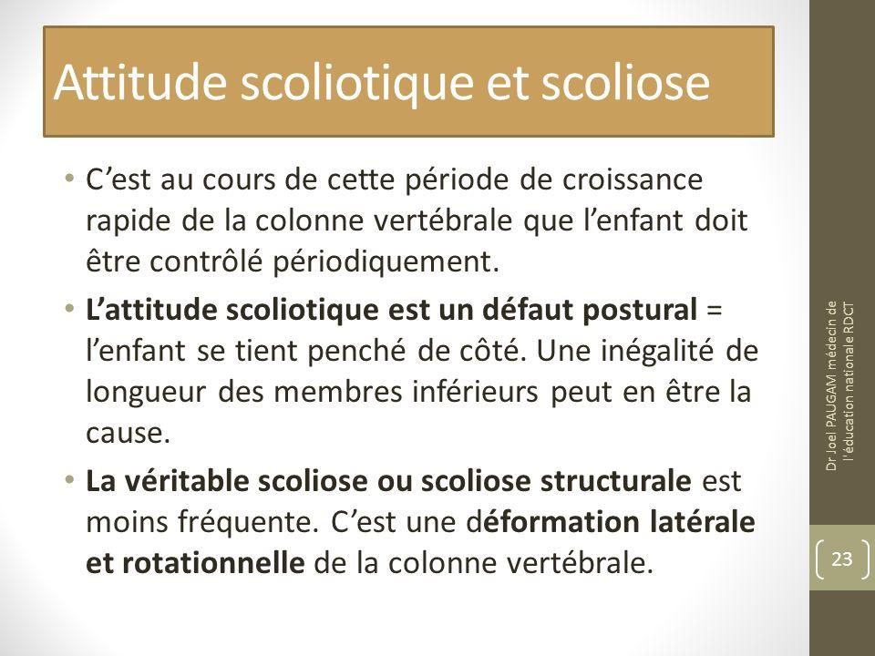 Attitude scoliotique et scoliose Cest au cours de cette période de croissance rapide de la colonne vertébrale que lenfant doit être contrôlé périodiquement.