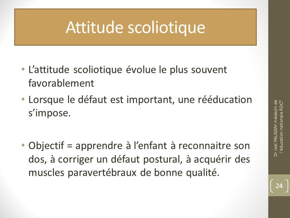 Attitude scoliotique Lattitude scoliotique évolue le plus souvent favorablement Lorsque le défaut est important, une rééducation simpose. Objectif = a