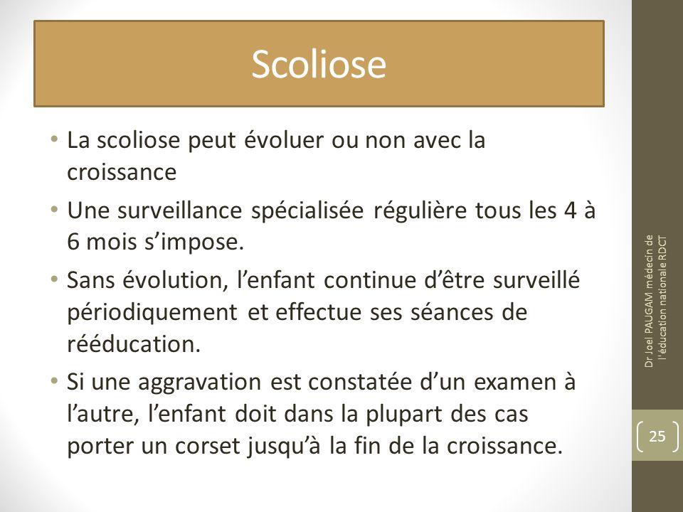 Scoliose La scoliose peut évoluer ou non avec la croissance Une surveillance spécialisée régulière tous les 4 à 6 mois simpose. Sans évolution, lenfan