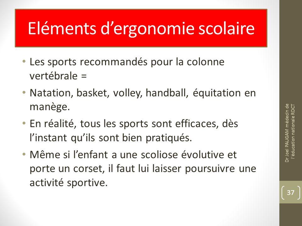 Eléments dergonomie scolaire Les sports recommandés pour la colonne vertébrale = Natation, basket, volley, handball, équitation en manège.