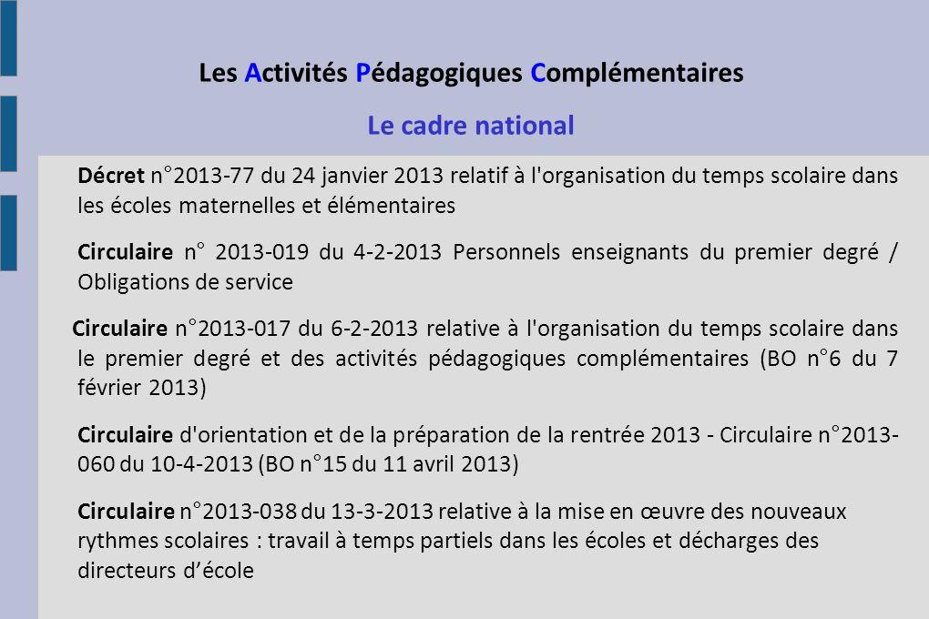 Le cadre national Décret n°2013-77 du 24 janvier 2013 relatif à l'organisation du temps scolaire dans les écoles maternelles et élémentaires Circulair