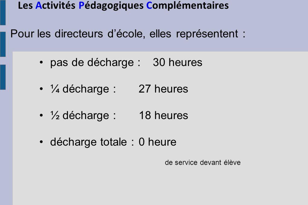 Les Activités Pédagogiques Complémentaires Pour les directeurs décole, elles représentent : pas de décharge : 30 heures ¼ décharge : 27 heures ½ décha