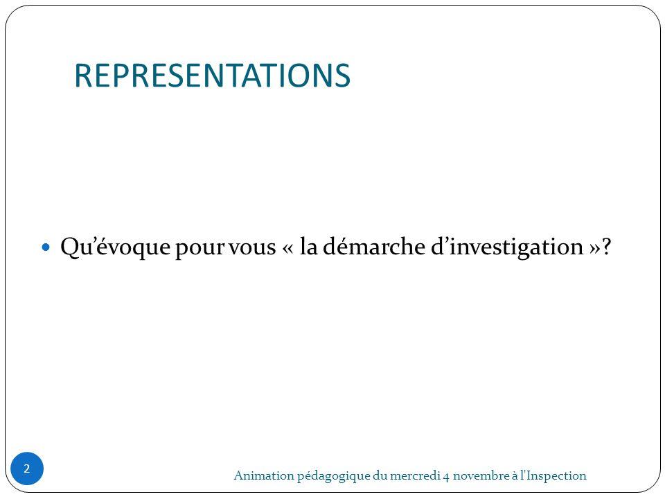 REPRESENTATIONS Animation pédagogique du mercredi 4 novembre à l'Inspection 2 Quévoque pour vous « la démarche dinvestigation »?