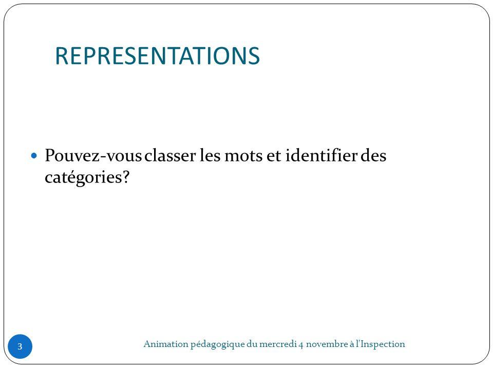 REPRESENTATIONS Animation pédagogique du mercredi 4 novembre à l'Inspection 3 Pouvez-vous classer les mots et identifier des catégories?
