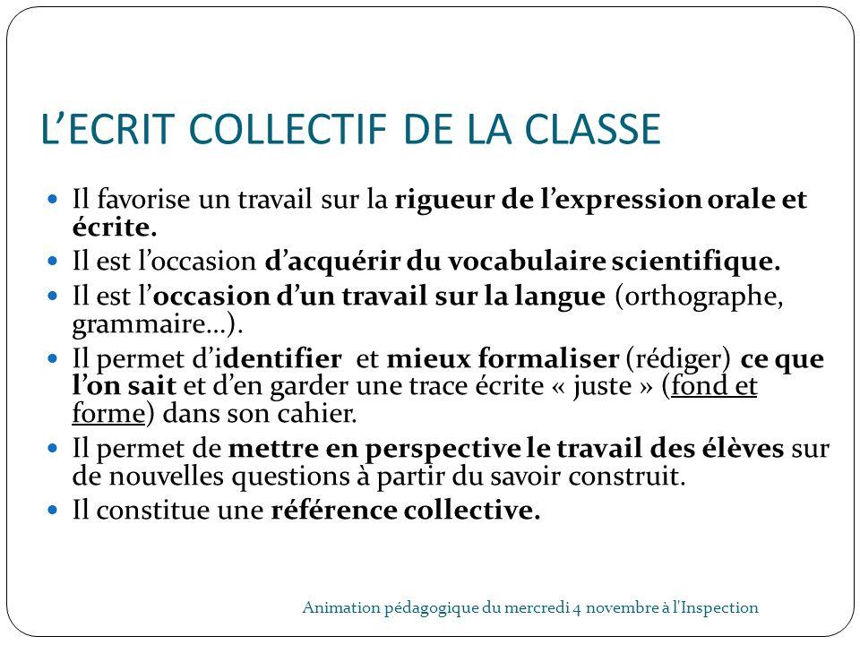 LECRIT COLLECTIF DE LA CLASSE Animation pédagogique du mercredi 4 novembre à l'Inspection 31 Il favorise un travail sur la rigueur de lexpression oral