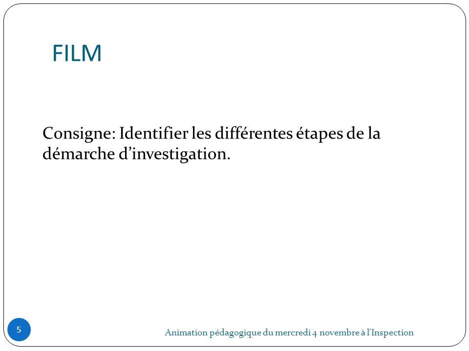 FILM Animation pédagogique du mercredi 4 novembre à l'Inspection 5 Consigne: Identifier les différentes étapes de la démarche dinvestigation.