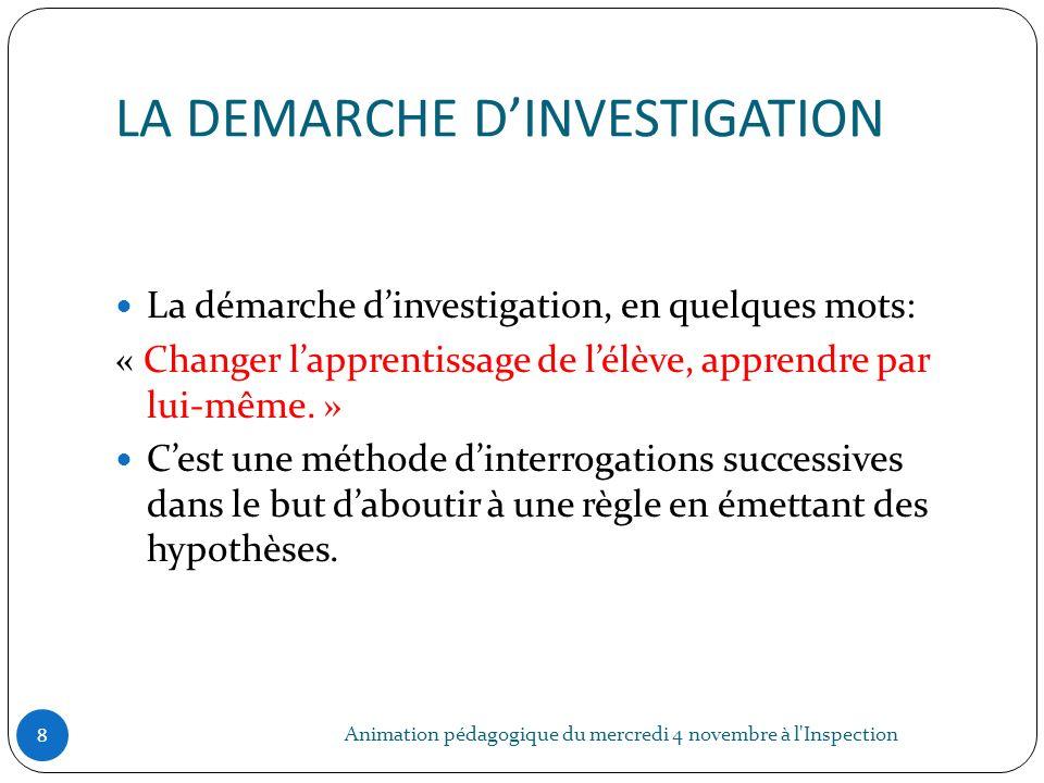 LA DEMARCHE DINVESTIGATION Animation pédagogique du mercredi 4 novembre à l'Inspection 8 La démarche dinvestigation, en quelques mots: « Changer lappr
