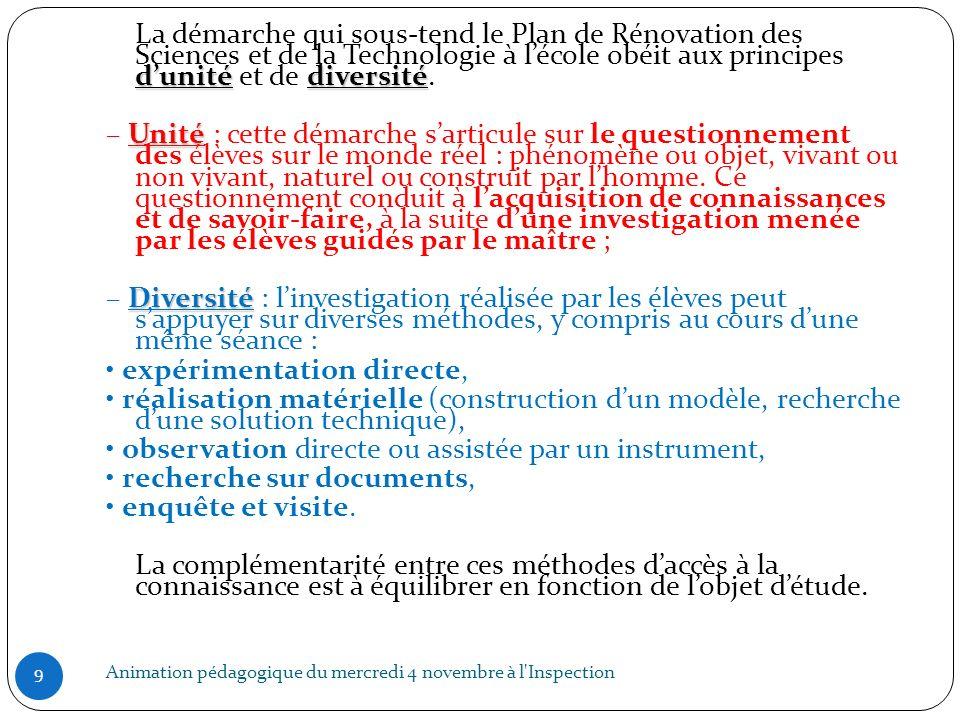 LES ETAPES DE LA DEMARCHE DINVESTIGATION 10 ETAPESDESCRIPTIF MOTIVATION Situation déclenchante choisie par lenseignant en fonction des IO et des contraintes de la classe.