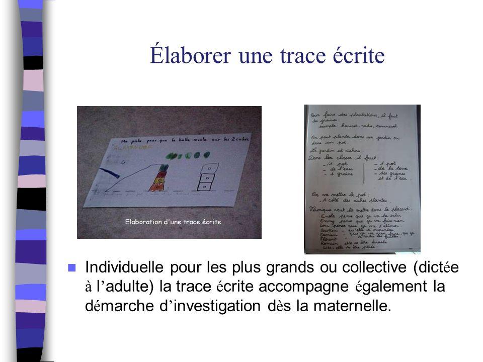 Élaborer une trace écrite Les panneaux Affiche collective plac é e dans le coin sciences : pour m é moriser,r é f é rencer des mots, un codage, structurer le temps, communiquer.