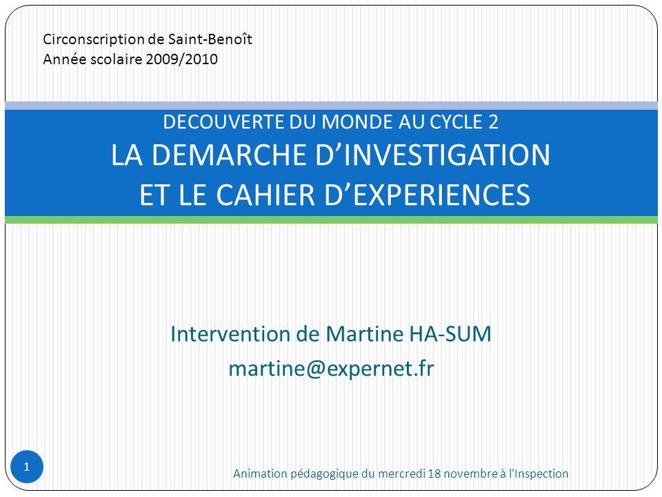 Intervention de Martine HA-SUM martine@expernet.fr Animation pédagogique du mercredi 18 novembre à l'Inspection 1 DECOUVERTE DU MONDE AU CYCLE 2 LA DE