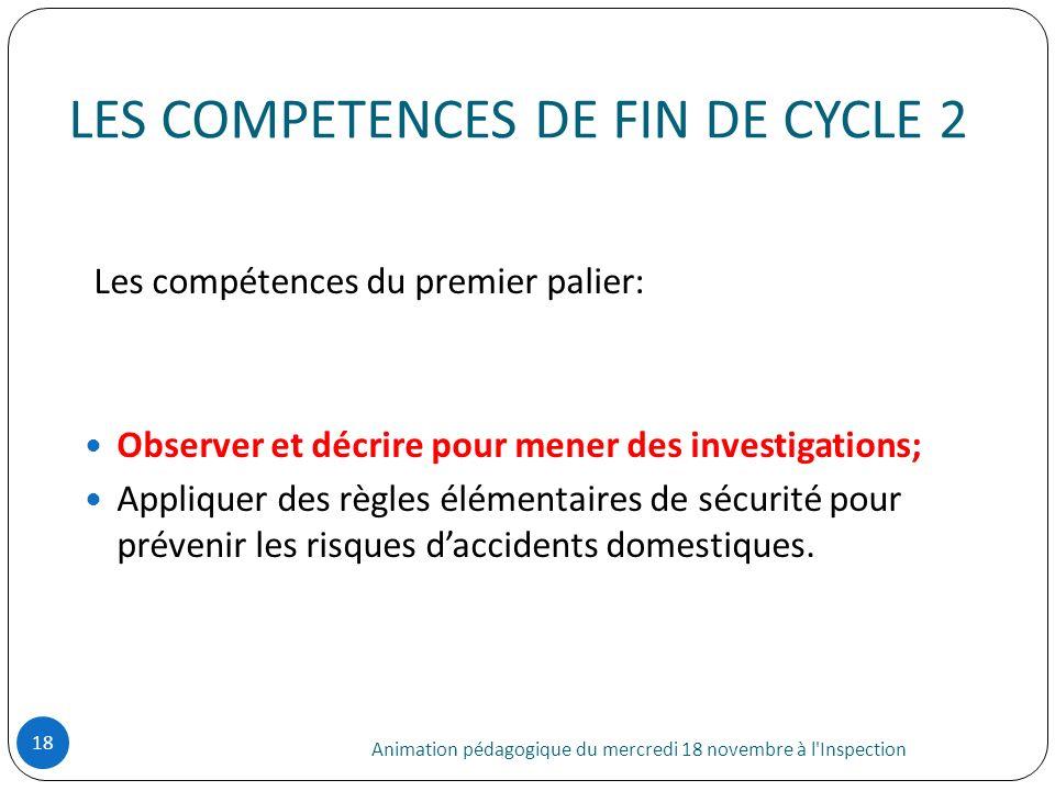 LES COMPETENCES DE FIN DE CYCLE 2 Animation pédagogique du mercredi 18 novembre à l'Inspection 18 Les compétences du premier palier: Observer et décri
