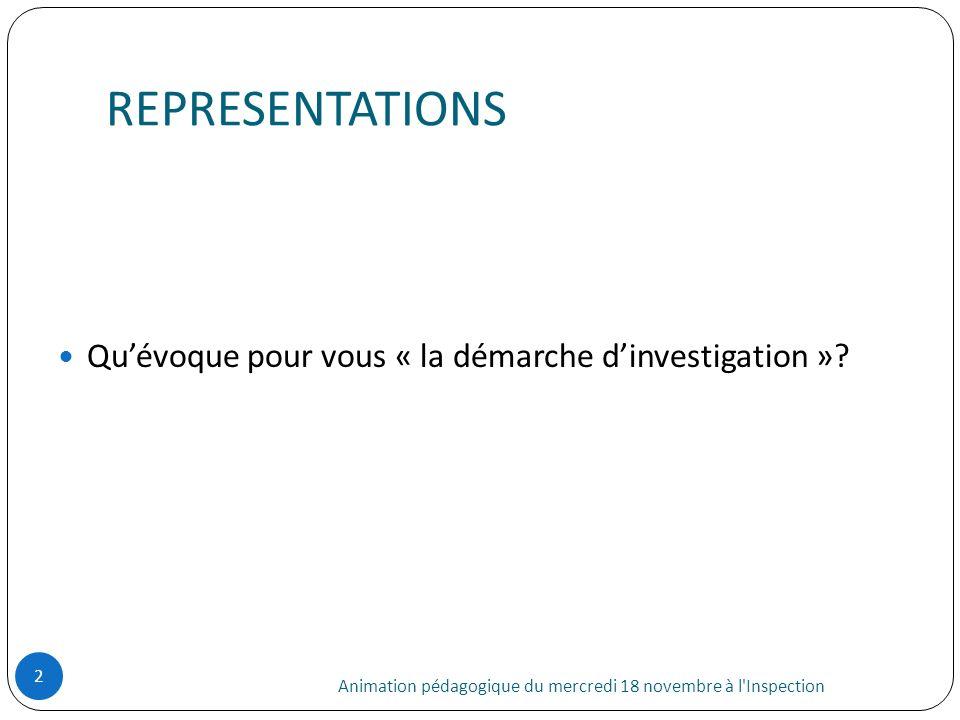 REPRESENTATIONS Animation pédagogique du mercredi 18 novembre à l'Inspection 2 Quévoque pour vous « la démarche dinvestigation »?