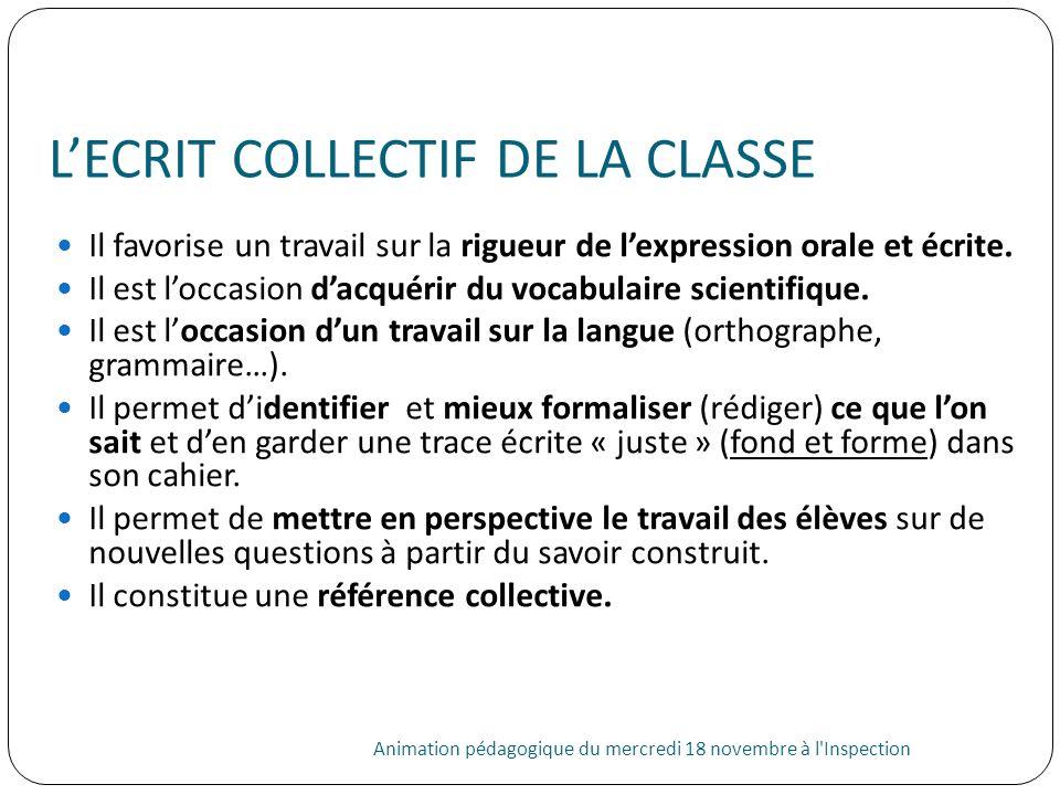 LECRIT COLLECTIF DE LA CLASSE Animation pédagogique du mercredi 18 novembre à l'Inspection 31 Il favorise un travail sur la rigueur de lexpression ora