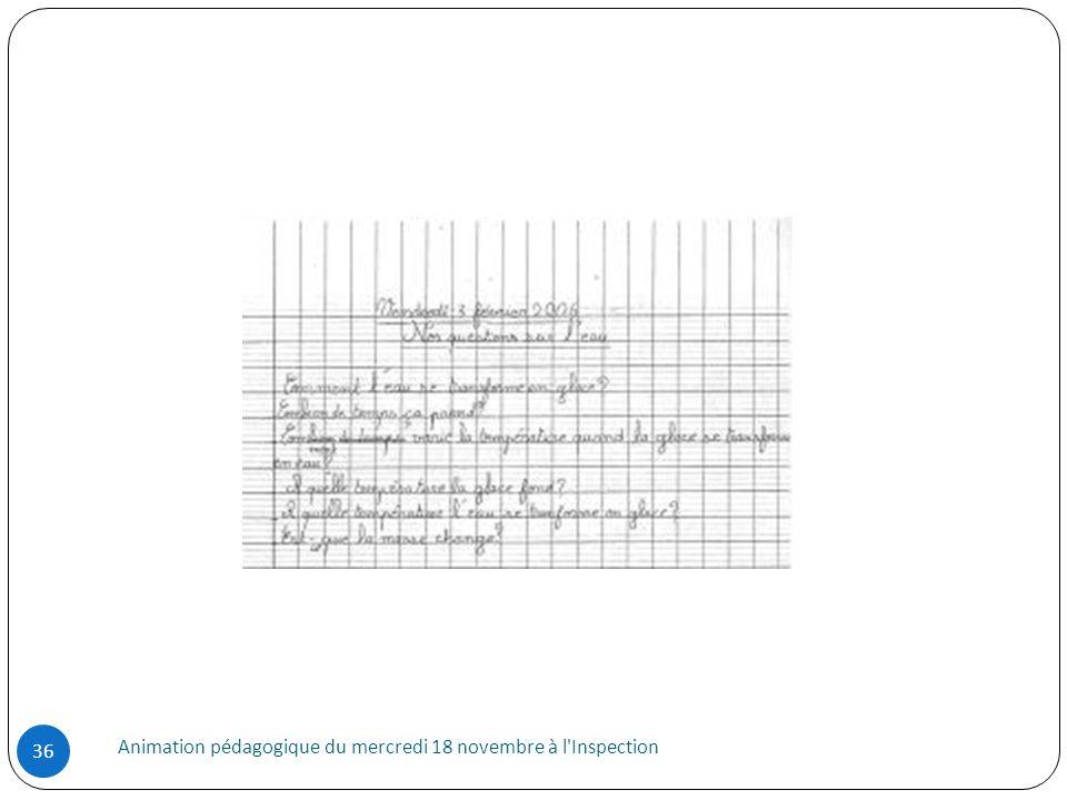 Animation pédagogique du mercredi 18 novembre à l'Inspection 36