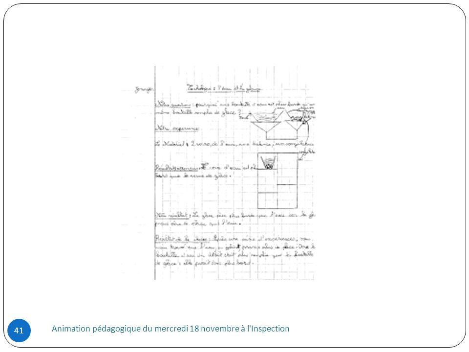 Animation pédagogique du mercredi 18 novembre à l'Inspection 41