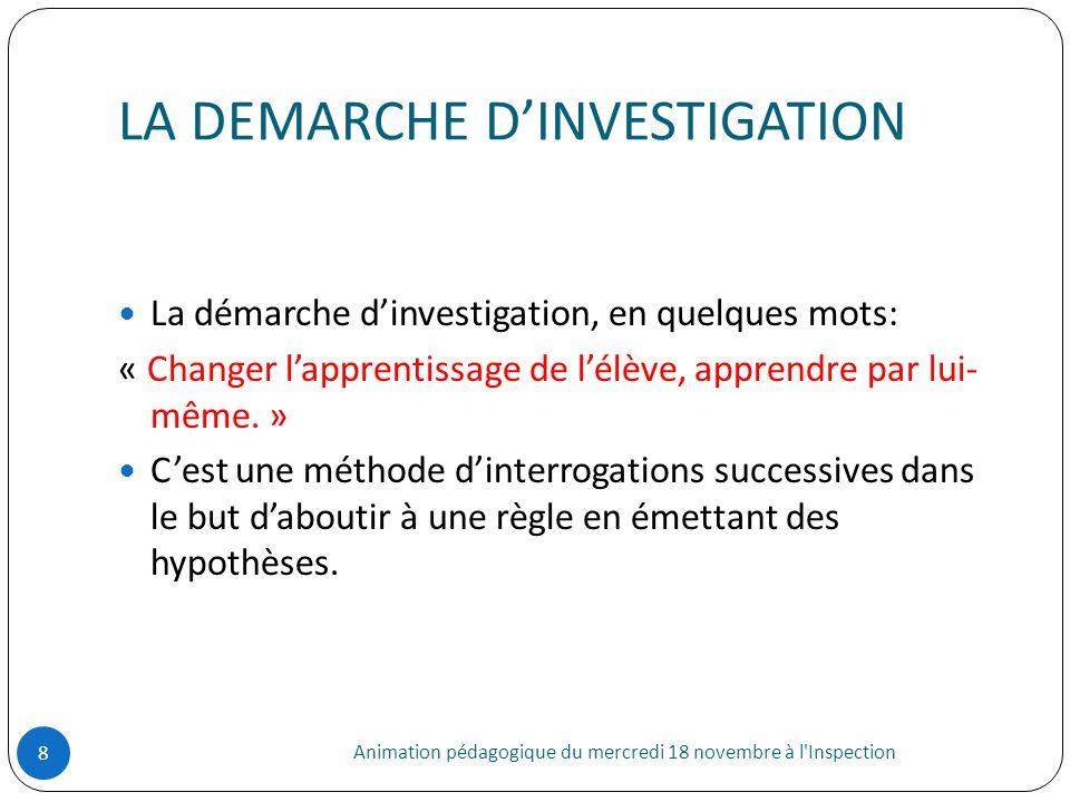 LA DEMARCHE DINVESTIGATION Animation pédagogique du mercredi 18 novembre à l'Inspection 8 La démarche dinvestigation, en quelques mots: « Changer lapp