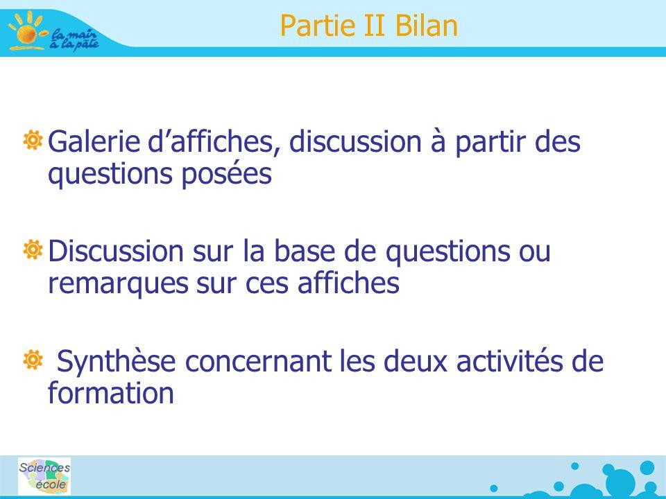 Partie II Bilan Galerie daffiches, discussion à partir des questions posées Discussion sur la base de questions ou remarques sur ces affiches Synthèse concernant les deux activités de formation
