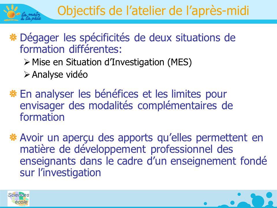 Objectifs de latelier de laprès-midi Dégager les spécificités de deux situations de formation différentes: Mise en Situation dInvestigation (MES) Anal