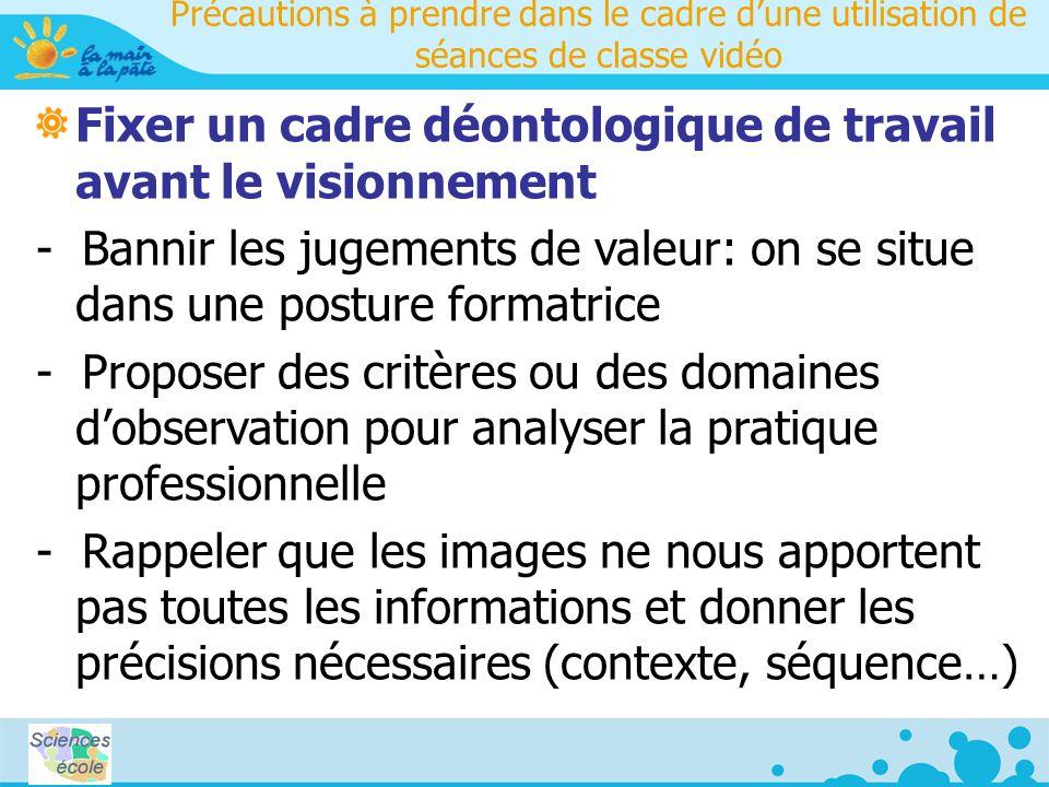 Précautions à prendre dans le cadre dune utilisation de séances de classe vidéo Fixer un cadre déontologique de travail avant le visionnement - Bannir