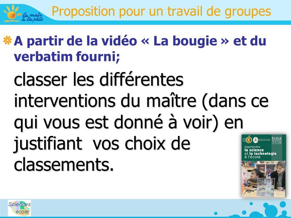 Proposition pour un travail de groupes A partir de la vidéo « La bougie » et du verbatim fourni; classer les différentes interventions du maître (dans ce qui vous est donné à voir) en justifiant vos choix de classements.