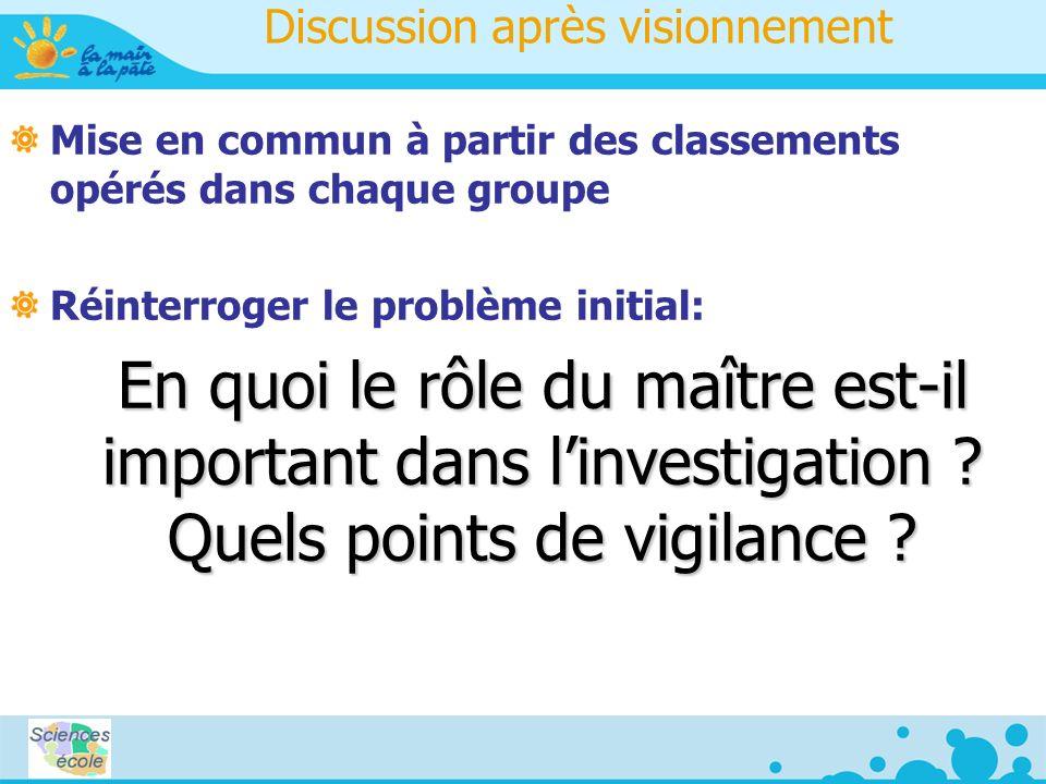 Discussion après visionnement Mise en commun à partir des classements opérés dans chaque groupe Réinterroger le problème initial: En quoi le rôle du maître est-il important dans linvestigation .