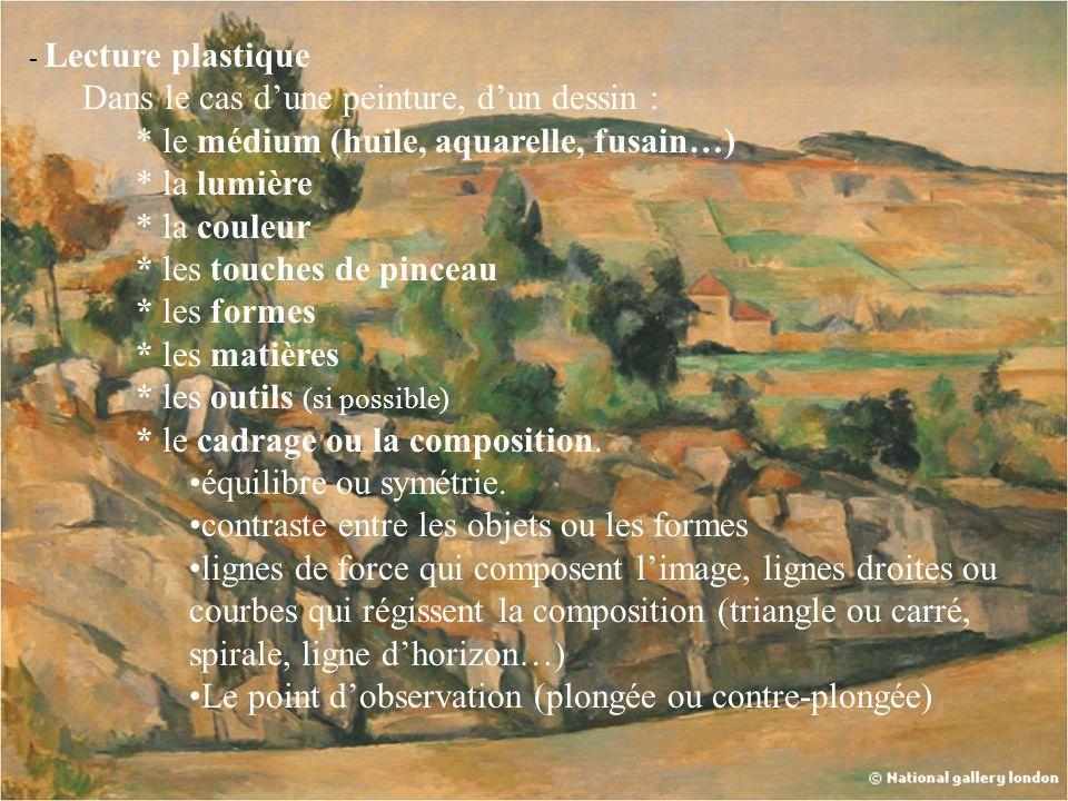 - Lecture plastique Dans le cas dune peinture, dun dessin : * le médium (huile, aquarelle, fusain…) * la lumière * la couleur * les touches de pinceau