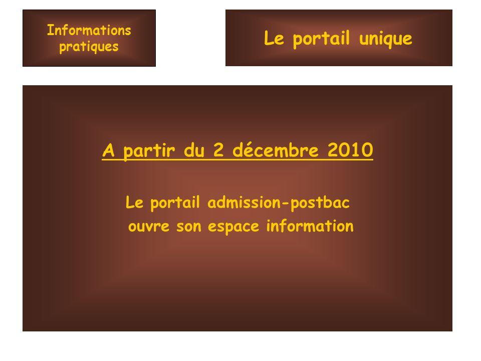 Informations pratiques A partir du 2 décembre 2010 Le portail admission-postbac ouvre son espace information Le portail unique