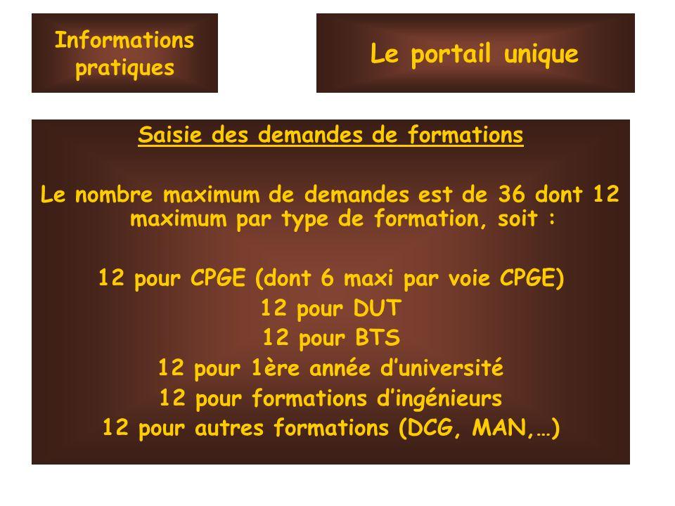 Informations pratiques Saisie des demandes de formations Le nombre maximum de demandes est de 36 dont 12 maximum par type de formation, soit : 12 pour