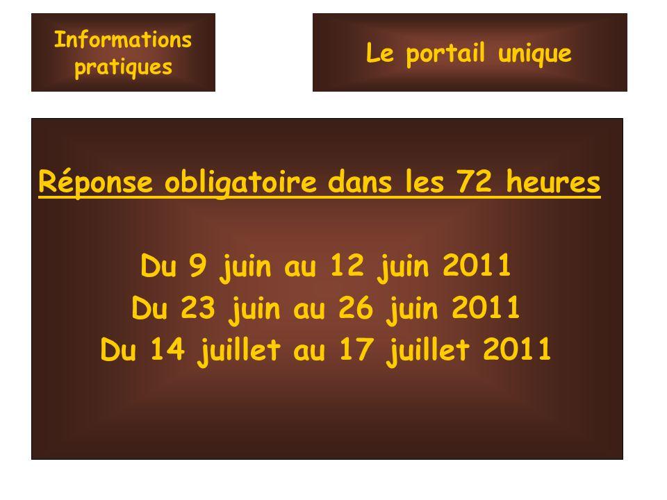 Informations pratiques Réponse obligatoire dans les 72 heures Du 9 juin au 12 juin 2011 Du 23 juin au 26 juin 2011 Du 14 juillet au 17 juillet 2011 Le